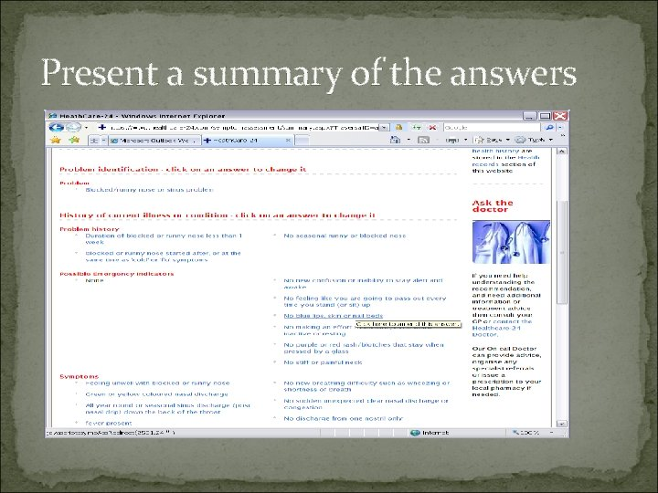 Present a summary of the answers