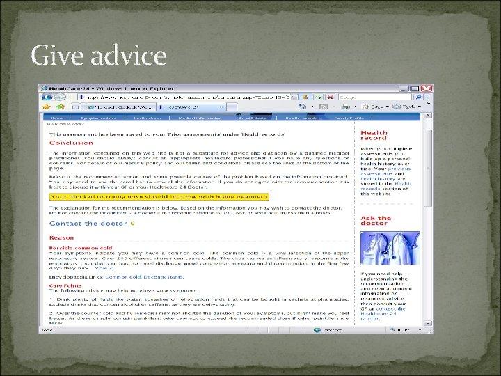 Give advice