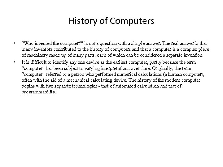 History of Computers • •