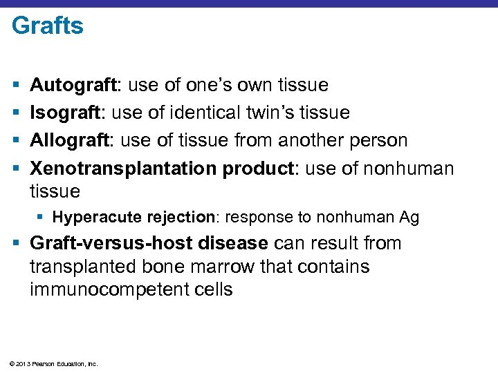 Grafts § § Autograft: use of one's own tissue Isograft: use of identical twin's