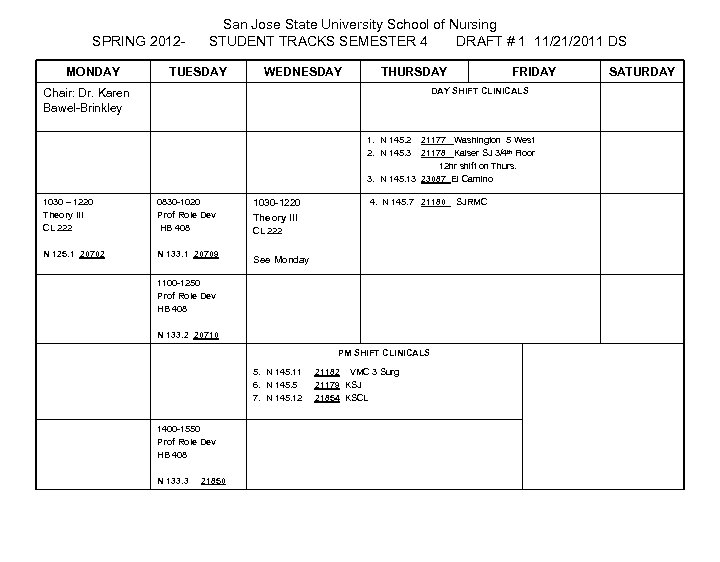 SPRING 2012 MONDAY San Jose State University School of Nursing STUDENT TRACKS SEMESTER 4