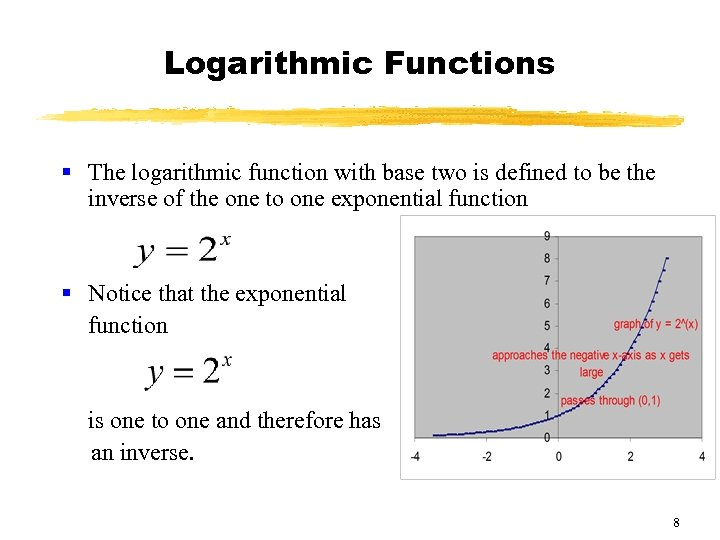 Logarithmic Functions § The logarithmic function with base two is defined to be the
