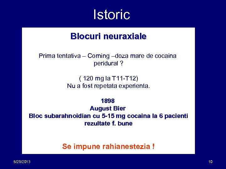 Istoric Blocuri neuraxiale Prima tentativa – Corning –doza mare de cocaina peridural ? (