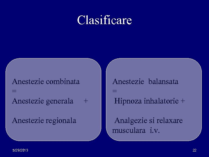 Clasificare Anestezie combinata = Anestezie generala + Anestezie balansata = Hipnoza inhalatorie + Anestezie