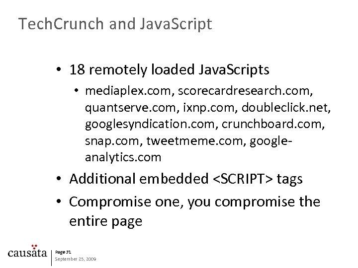 Tech. Crunch and Java. Script • 18 remotely loaded Java. Scripts • mediaplex. com,
