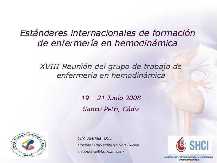 ACADEMIA Estándares internacionales de formación de enfermería en hemodinámica XVIII Reunión del grupo de