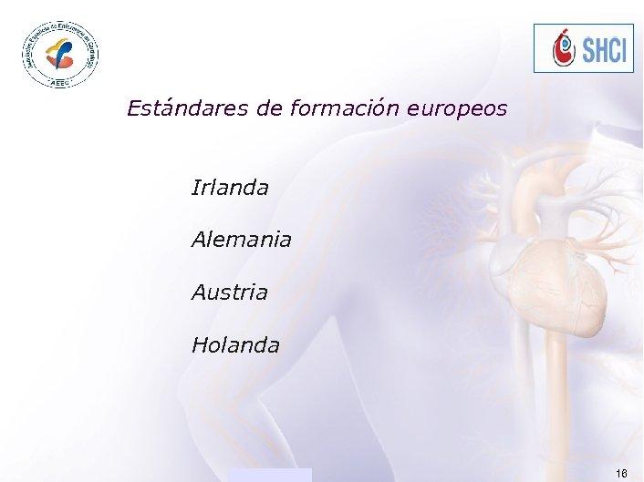 ACADEMIA Estándares de formación europeos Irlanda Alemania Austria Holanda [Presentation title] 16