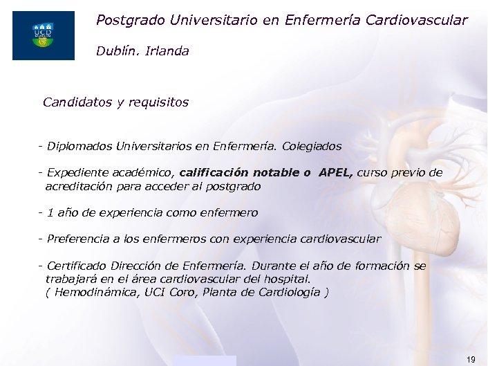 Postgrado Universitario en Enfermería Cardiovascular ACADEMIA Dublín. Irlanda Candidatos y requisitos - Diplomados Universitarios
