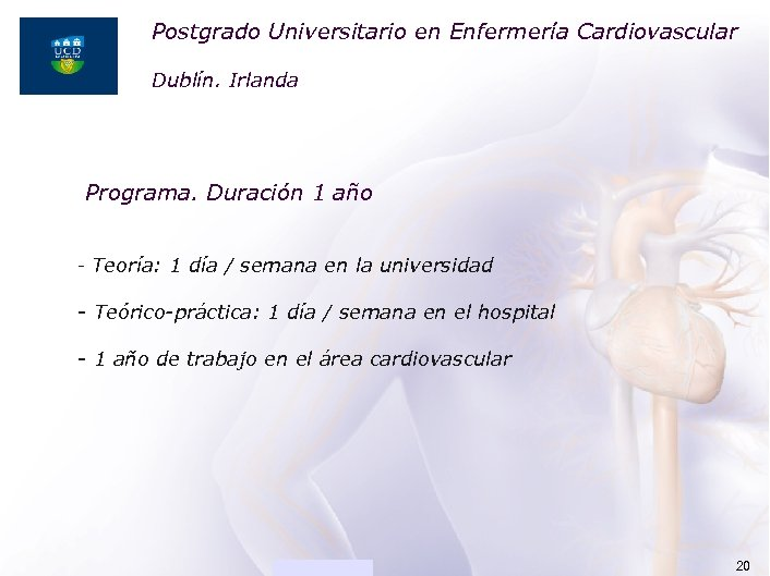 Postgrado Universitario en Enfermería Cardiovascular ACADEMIA Dublín. Irlanda Programa. Duración 1 año - Teoría: