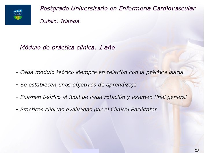 Postgrado Universitario en Enfermería Cardiovascular ACADEMIA Dublín. Irlanda Módulo de práctica clínica. 1 año
