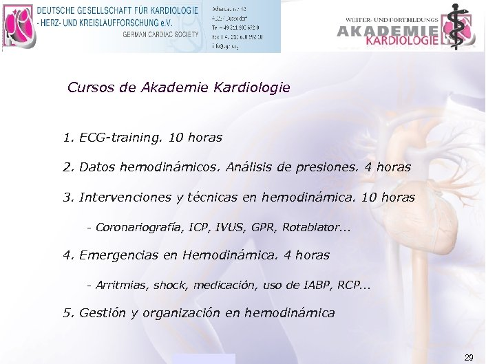 ACADEMIA Cursos de Akademie Kardiologie 1. ECG-training. 10 horas 2. Datos hemodinámicos. Análisis de