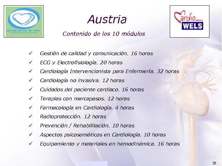 ACADEMIA Austria Contenido de los 10 módulos ü Gestión de calidad y comunicación. 16