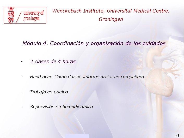ACADEMIA Wenckebach Institute, Universital Medical Centre. Groningen Módulo 4. Coordinación y organización de los