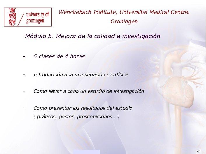 ACADEMIA Wenckebach Institute, Universital Medical Centre. Groningen Módulo 5. Mejora de la calidad e