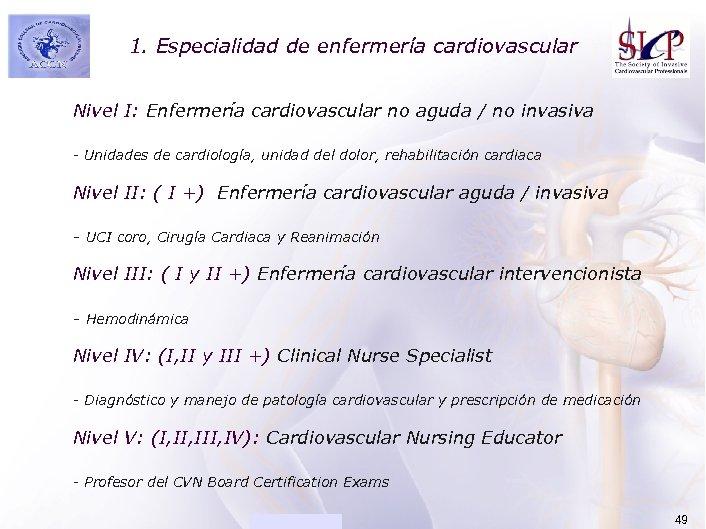 1. Especialidad de enfermería cardiovascular ACADEMIA Nivel I: Enfermería cardiovascular no aguda / no