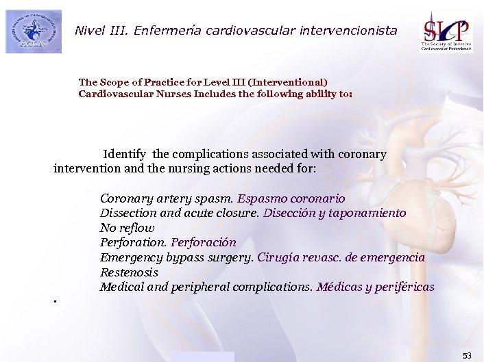Nivel III. ACADEMIAEnfermería cardiovascular intervencionista The Scope of Practice for Level III (Interventional) Cardiovascular