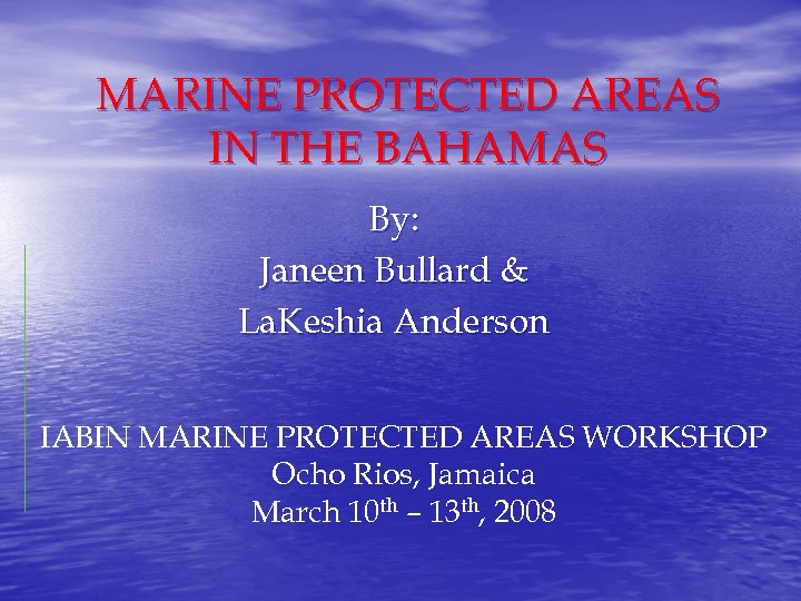 MARINE PROTECTED AREAS IN THE BAHAMAS By: Janeen Bullard & La. Keshia Anderson IABIN