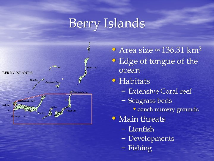 Berry Islands • Area size ≈ 136. 31 km 2 • Edge of tongue