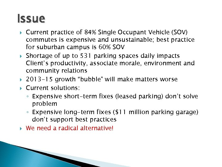 Issue Current practice of 84% Single Occupant Vehicle (SOV) commutes is expensive and unsustainable;