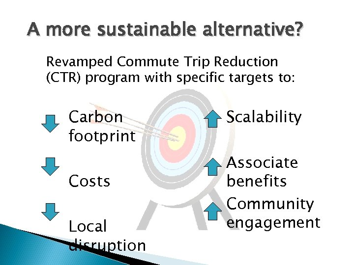 A more sustainable alternative? Revamped Commute Trip Reduction (CTR) program with specific targets to: