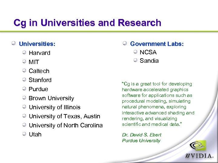 Cg in Universities and Research Universities: Harvard MIT Caltech Stanford Purdue Brown University of