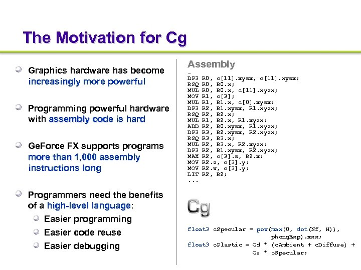 The Motivation for Cg Graphics hardware has become increasingly more powerful Programming powerful hardware
