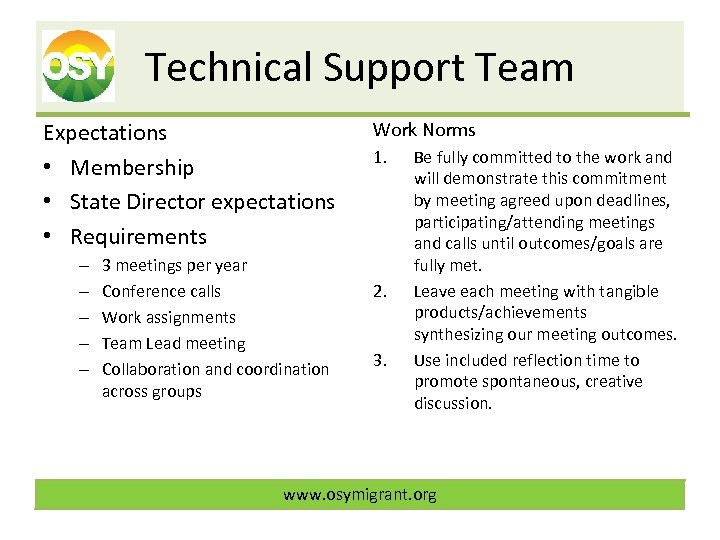 Technical Support Team Expectations • Membership • State Director expectations • Requirements – –