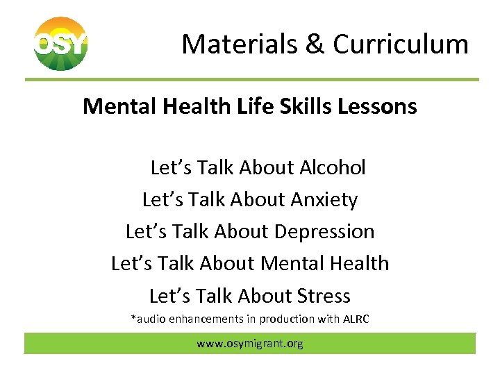 Materials & Curriculum Mental Health Life Skills Lessons Let's Talk About Alcohol Let's Talk