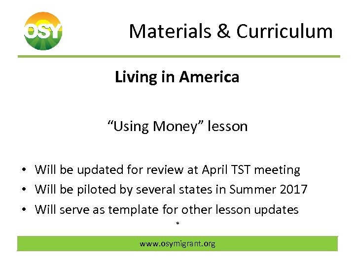 "Materials & Curriculum Living in America ""Using Money"" lesson • Will be updated for"
