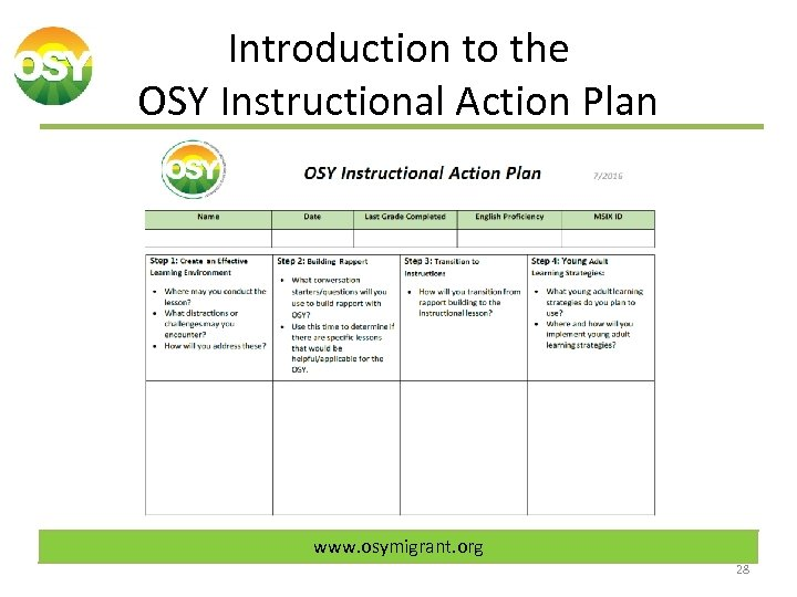 Introduction to the OSY Instructional Action Plan www. osymigrant. org 28