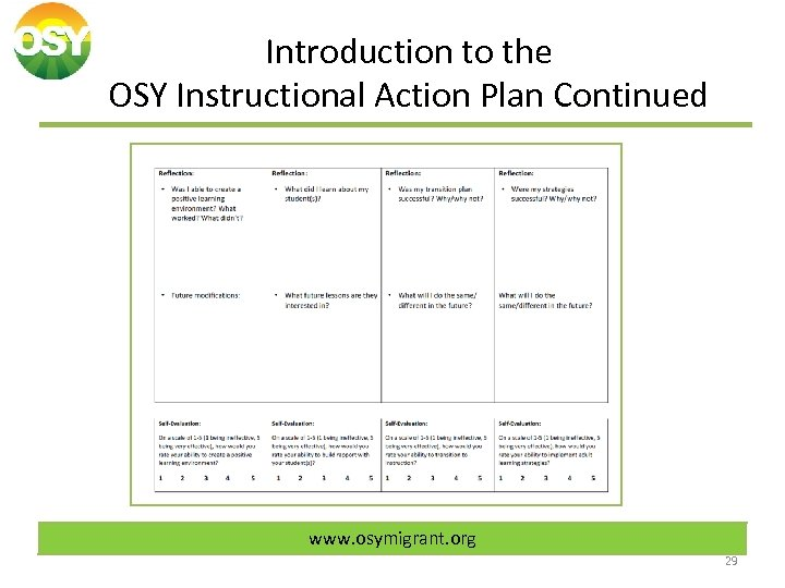 Introduction to the OSY Instructional Action Plan Continued www. osymigrant. org 29
