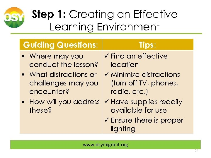 Step 1: Creating an Effective Learning Environment Guiding Questions: Tips: § Where may you