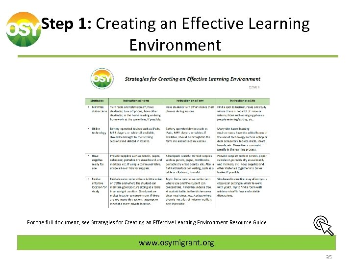 Step 1: Creating an Effective Learning Environment For the full document, see Strategies for