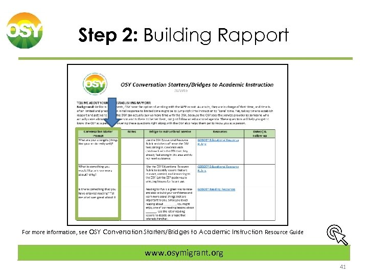 Step 2: Building Rapport For more information, see OSY Conversation Starters/Bridges to Academic Instruction