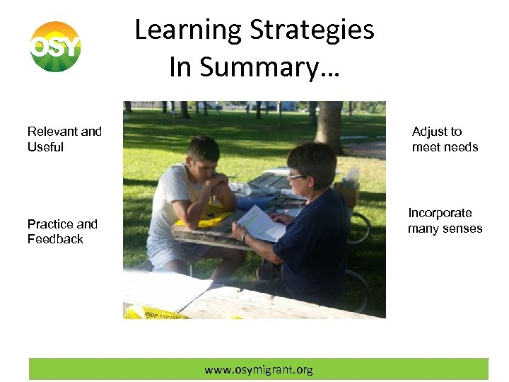 Learning Strategies In Summary… Relevant and Useful Adjust to meet needs instruction Practice and