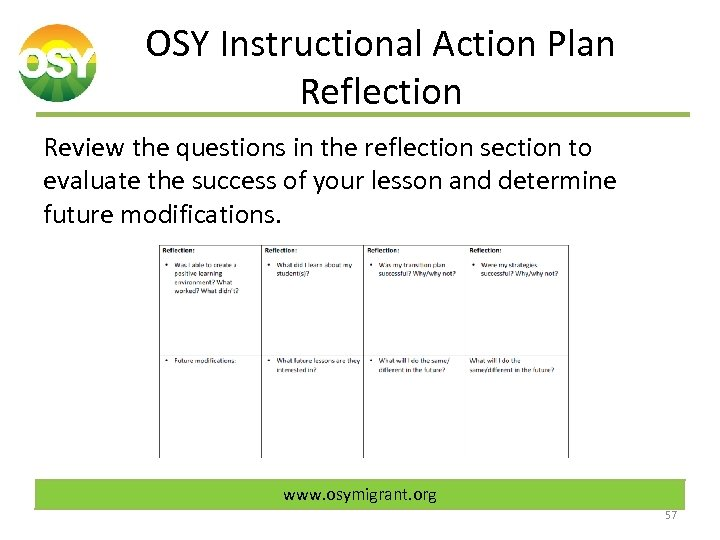 OSY Instructional Action Plan Reflection Review the questions in the reflection section to evaluate