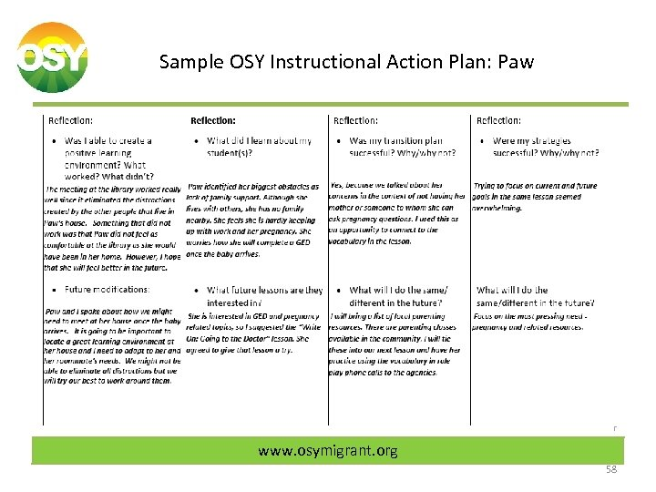 Sample OSY Instructional Action Plan: Paw www. osymigrant. org 58