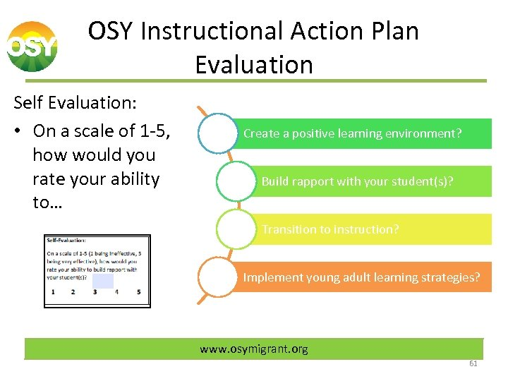 OSY Instructional Action Plan Evaluation Self Evaluation: • On a scale of 1 -5,