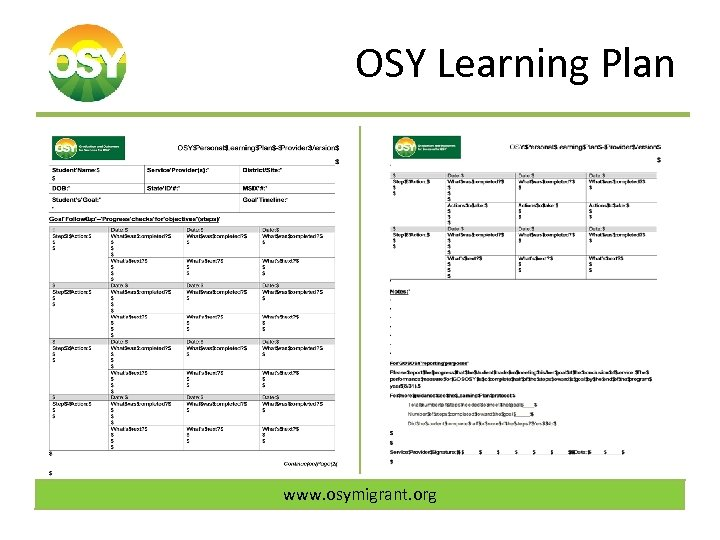 OSY Learning Plan www. osymigrant. org