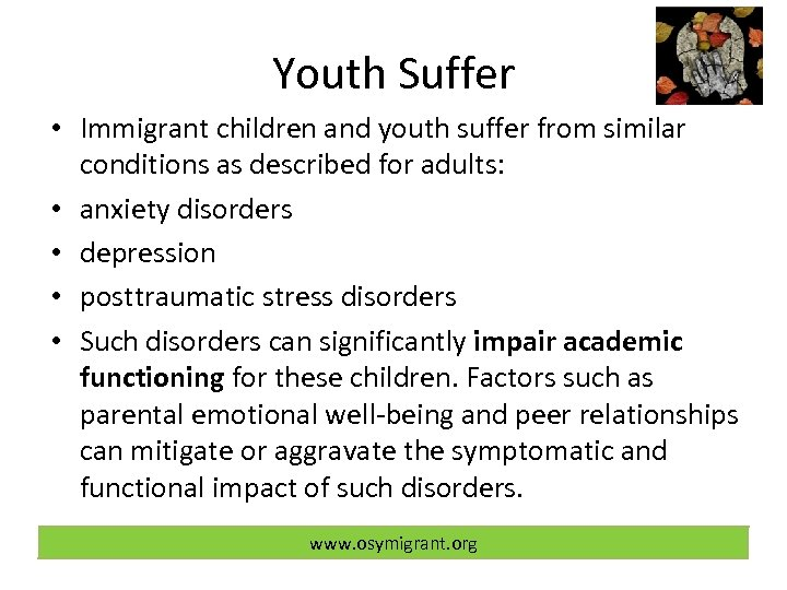 Youth Suffer • Immigrant children and youth suffer from similar conditions as described for