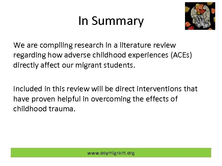 In Summary We are compiling research in a literature review regarding how adverse childhood