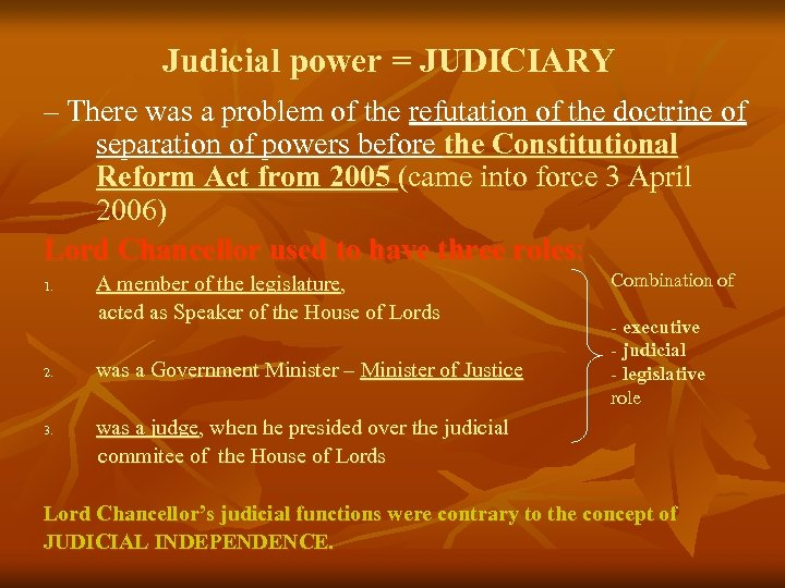 Judicial power = JUDICIARY – There was a problem of the refutation of the