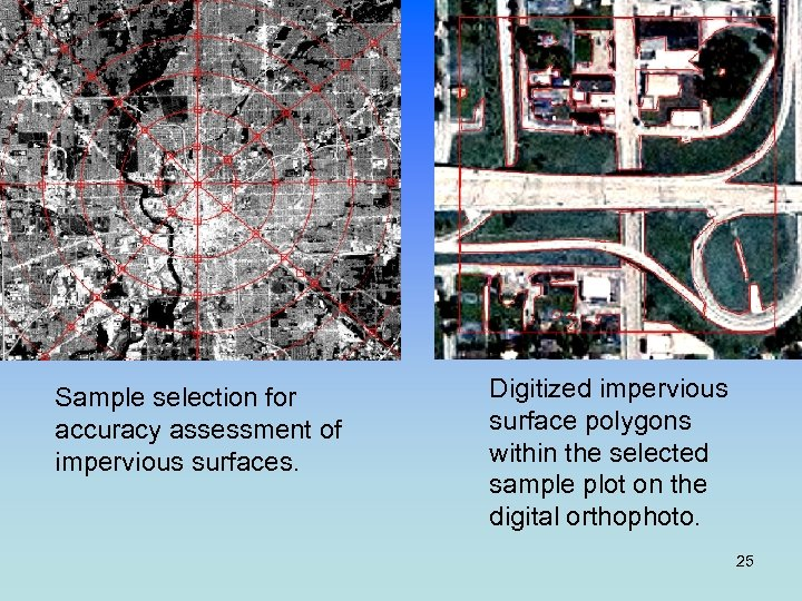 Sample selection for accuracy assessment of impervious surfaces. Digitized impervious surface polygons within the