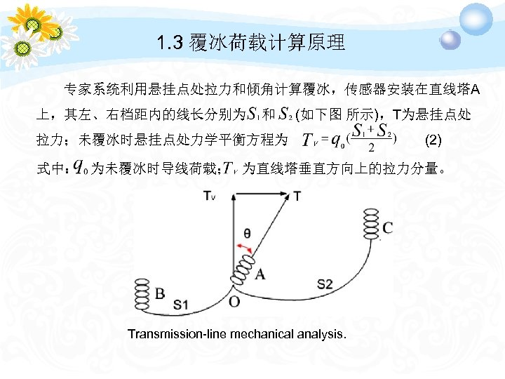 1. 3 覆冰荷载计算原理 专家系统利用悬挂点处拉力和倾角计算覆冰,传感器安装在直线塔A 上,其左、右档距内的线长分别为 和 (如下图 所示),T为悬挂点处 拉力;未覆冰时悬挂点处力学平衡方程为 (2) 式中: 为未覆冰时导线荷载; 为直线塔垂直方向上的拉力分量。 Transmission-line