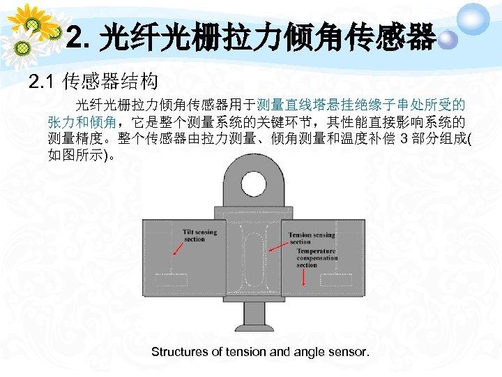 2. 光纤光栅拉力倾角传感器 2. 1 传感器结构 光纤光栅拉力倾角传感器用于测量直线塔悬挂绝缘子串处所受的 张力和倾角,它是整个测量系统的关键环节,其性能直接影响系统的 测量精度。整个传感器由拉力测量、倾角测量和温度补偿 3 部分组成( 如图所示)。 Structures of tension