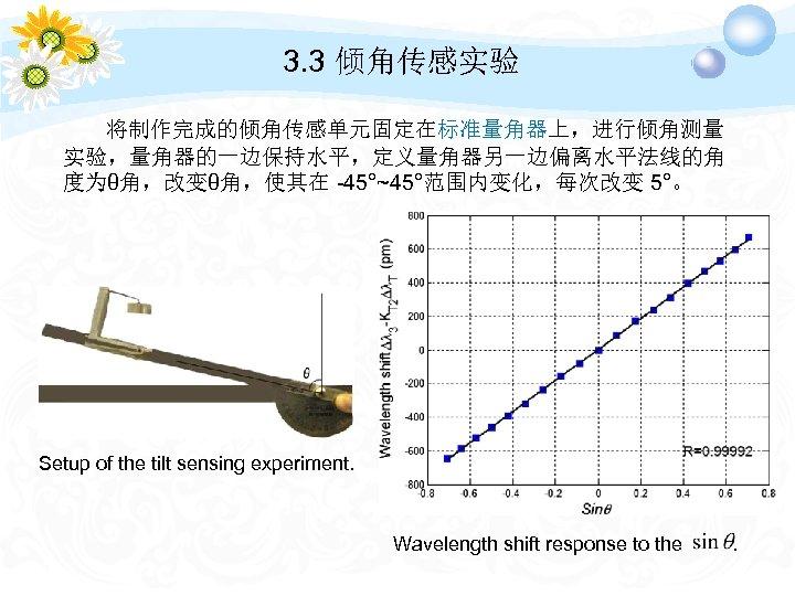 3. 3 倾角传感实验 将制作完成的倾角传感单元固定在标准量角器上,进行倾角测量 实验,量角器的一边保持水平,定义量角器另一边偏离水平法线的角 度为θ角,改变θ角,使其在 -45°~45°范围内变化,每次改变 5°。 Setup of the tilt sensing experiment.