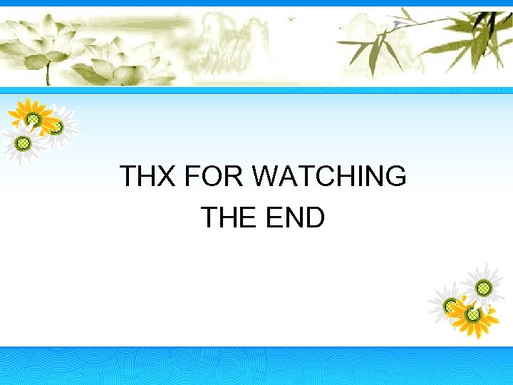 THX FOR WATCHING THE END