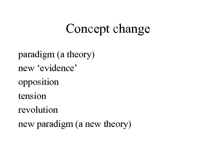 Concept change paradigm (a theory) new 'evidence' opposition tension revolution new paradigm (a new