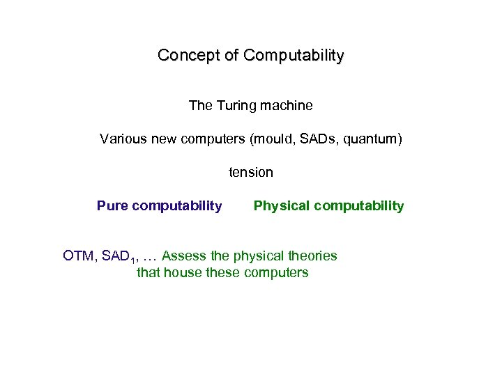 Concept of Computability The Turing machine Various new computers (mould, SADs, quantum) tension Pure