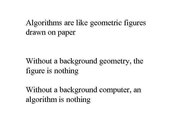 Algorithms are like geometric figures drawn on paper Without a background geometry, the figure